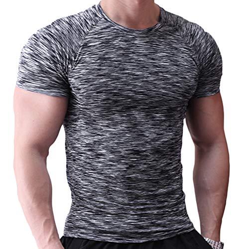 Herren Fest Kompression Grundschicht Kurzarm T-Shirt Bodybuilding Tops Polyester und Spandex Black with Grey M