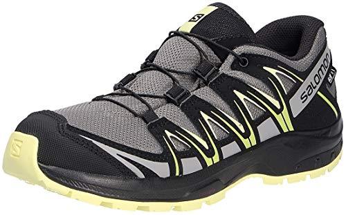Salomon Kinder XA PRO 3D, Schuhe für Trail Running und Outdoor-Aktivitäten, ClimaSalomon Waterproof ,Grau (Gargoyle/Black/Charlock),36 EU