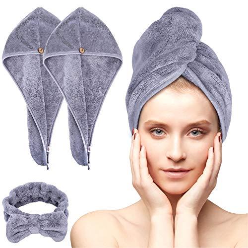 Acksonse Haarturban 3 Stück, Turban Handtuch mit Knopf, Schnelltrocknend Haarhandtuch für Frauen, Mikrofaser Handtuch für Kopf und Lange Haare