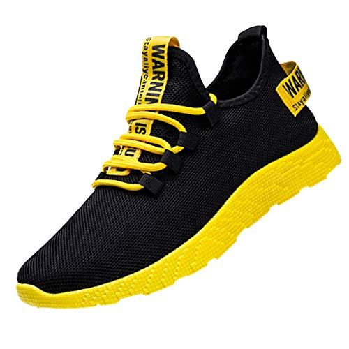 Herren Schuhe Dämpfung Low Top Laufschuhe Trail Running Schuhe Freizeit ausgefallene Outdoorschuhe Leichtgewichts Atmungsaktiv Straßenlaufschuhe Mode Fitness Sneaker (Gelb, 41)