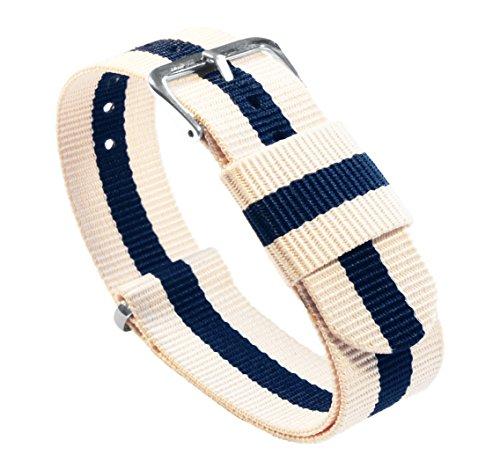BARTON Watch Bands Uhrenarmband, Farb- und Längenauswahl (18 mm, 20 mm, 22 mm oder 24 mm), Bänder aus ballistischem Nylon, unisex, LN18, Linen/Navy, 18mm - Standard (10