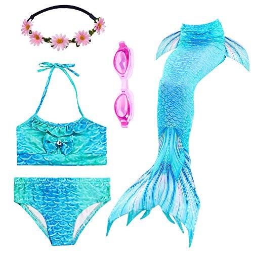 PTHTECHUS Mädchen Badeanzüge Meerjungfrau Tails Bikini Kostüm Bademode mit Kopf Garland und Taucherbrille (110(3-4Y), GH06-Blue)