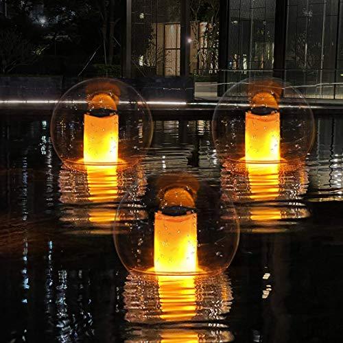 Schwimmende LED-Flammenlampe für Aussen Solar Poolleuchte, Flackernde Gartenlampe Solar Flammenlicht IP68 Wasserdichtes Garten Licht Ball, Automatische Ein/Aus für Hof, Balkon, Camping, Weg-1 Stück