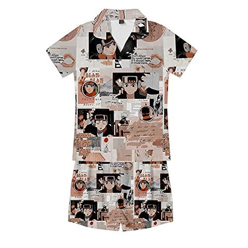 MSHAQT Pyjama-Set Naruto Anime Comic Kurzarm Herren Damen 2-Teilig Pyjama Weich Leicht Trend Homewear Braun XL