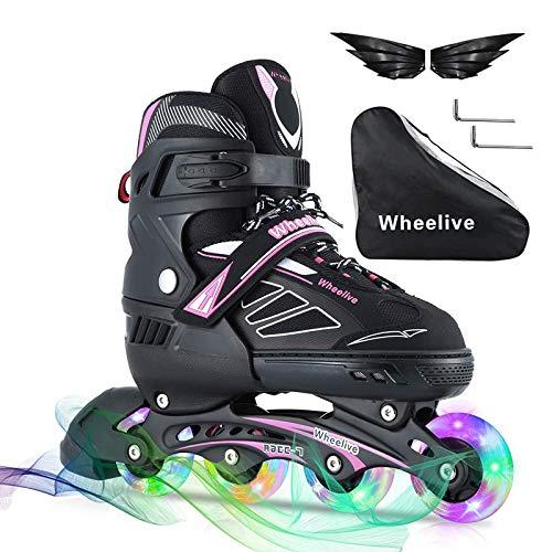 Wheelive Einstellbare Inline-Skates für Kinder und Erwachsene, Anfänger Rollschuhe Performance Inline Skates mit voll leuchtenden Rädern Ideal für Jungen und Mädchen Boy