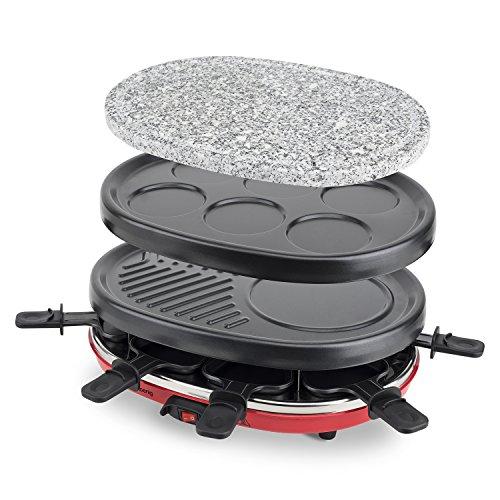 H.Koenig RP412 Raclette-Gerät 4 in 1 / 8 Personen / Raclette, Natursteingrill, Crepe-Platte und Grillplatte / mit 8 Pfännchen / 900 W / schwarz/rot