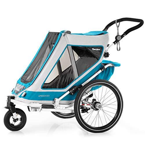 Qeridoo Speedkid1 (2020/2021) Fahrradanhänger für 1 Kind, Kinderfahrradanhänger - Petrol