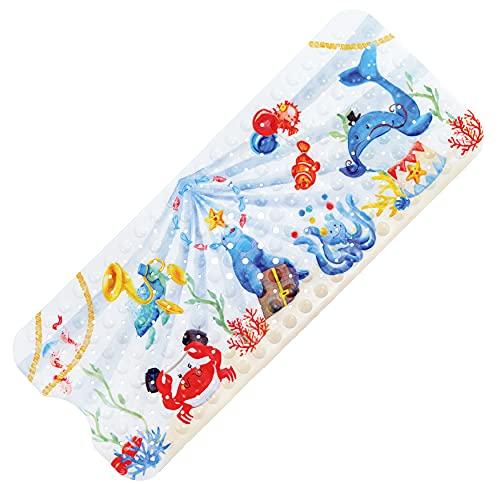 TONIAMO® *NEU* Badewannenmatte für Kinder   extra Lange Antirutschmatte 100x40cm in liebevollem Aquarell-Design, waschmaschinenfest, geprüfte Qualität