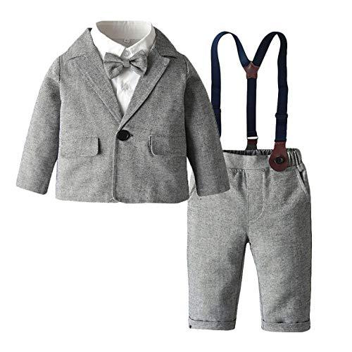 Agoky Baby Junge Gentleman Anzug Kinder Festlich Kleidung Set 3 Teiler Babyanzug Party Smoking Hochzeit Urlaub Taufanzug Gr. 74-110 Grau + Weiß 98-104