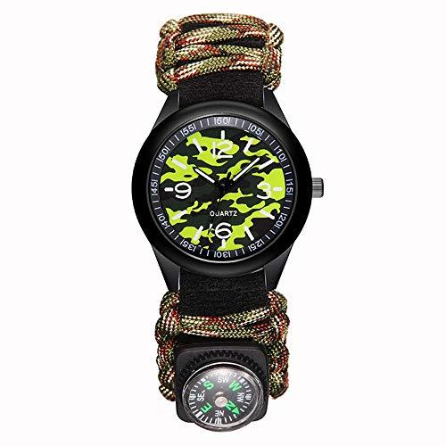 ABCCS Outdoor Survival Watch Militär Herrenuhr Kompass Armband Herren handgeflochtene Uhr