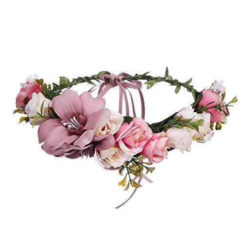 AWAYTR Blumen Stirnband Hochzeit Haarkranz Blume Krone (Bleich Malvenfarben)