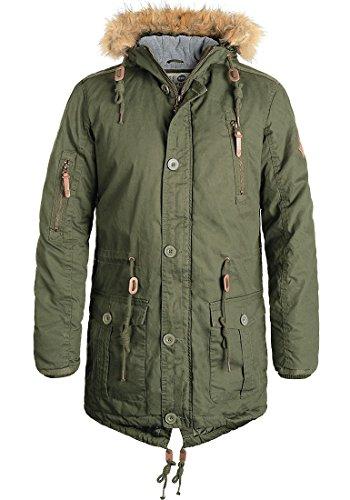 !Solid Clark Herren Winter Jacke Parka Mantel Lange Winterjacke gefüttert aus 100% Baumwolle mit Kunst-Fellkapuze, Größe:L, Farbe:Ivy Green (3797)