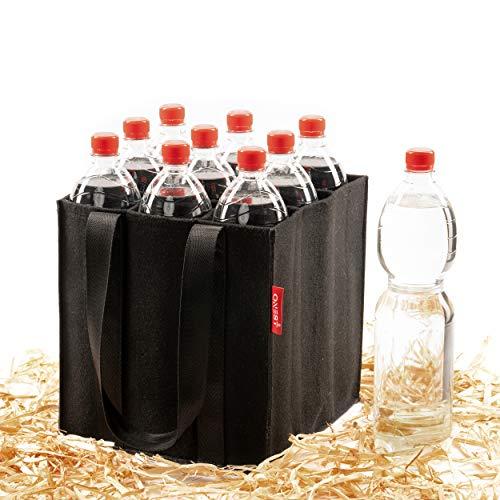 ONEST Flaschentasche – Zuverlässiger Flaschenträger auch für 1,5L Flaschen – Flaschenkorb aus hochwertigem Nadelfilz – für 9 Flaschen Aller Größen geeignet (Einzel)
