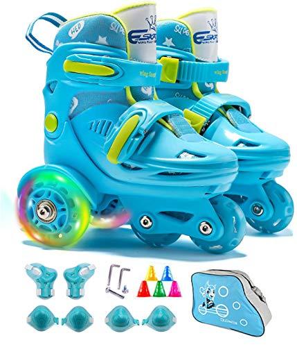 Rollschuhe Kinder Verstellbar Skates mit LED leuchtendem Rad Roller Skates Bequem und atmungsaktiv Quad Roll Schuhe für Mädchen,Jungen,Anfänger, Drinnen und draußen, Blau