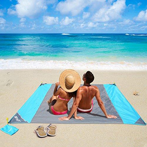 OUSPT Picknickdecke 210 x 200 cm, Stranddecke wasserdichte, Sandabweisende Campingdecke 4 Befestigung Ecken, Ultraleicht kompakt Wasserdicht und sandabweisend (Grau)