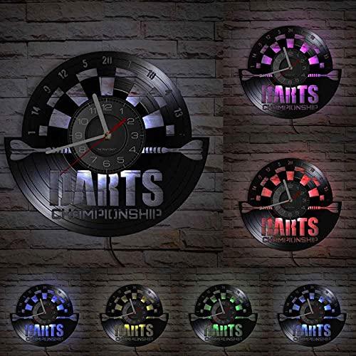 hhhjjj Darts Brettspiel Moderne Wanduhr Spiel Bumerang Spielzimmer Dekoration Stummquarz Retro Meisterschaft Vinyl Schallplatte Uhr Ornamente