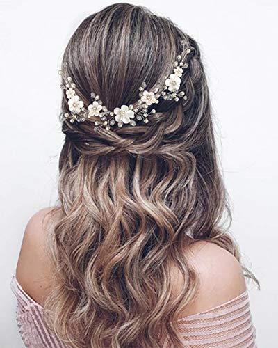 Unicra Blumenhaarschmuck für Bräute, Hochzeits-Haarschmuck, silberfarben, Haaraccessoire, mit Perlen, Brautschmuck, Haarband, für Damen und Mädchen