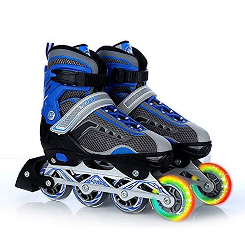 Inliner Damen Herren, Inlinerskates ABEC-7 Chrome Kugellager Dreifach Schutz Leichte Anfänger,Unisex Fitness Skates für Erwachsene Blue,XL
