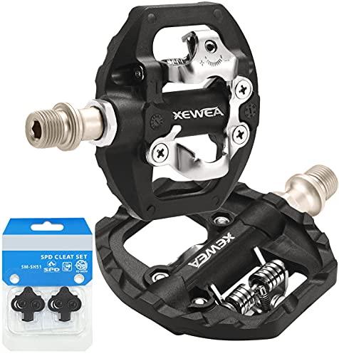 TacoBey MTB-Fahrradpedale Dual Platform Kompatibel mit Shimano SPD Mountain Clipless Pedalen, 3-abgedichtete, rutschfeste, leichte Nylonfaser-Fahrradplattformpedale für BMX MTB Spin Trekking Bike