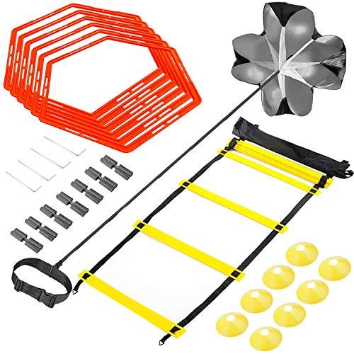 Sportout Speed & Agility Trainingsset,trainingsleiter,Premium Agility Leiter und Kegel,Resistance Fallschirm, Metallnägel & Tragetasche,Trainingsgürtel,Sport Armband