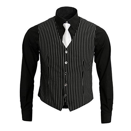 Nofonda 1920er Gangsterhemd für erwachsene Männer, Weste und Krawatte, 20er Kostüm-Outfit, Anzug, Vintage Gangsterboss-Kostüm