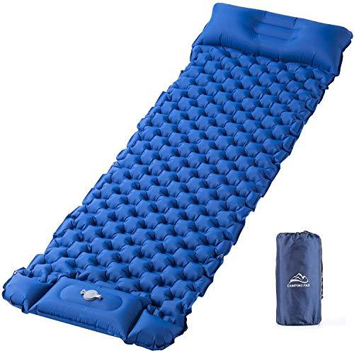 Isomatte Camping Schlafmatte Fußpresse Aufblasbare, Elegear Ultraleichte Luftmatratze Rucksackmatte für Wanderungen Strand Outdoor, wasserdichte, Ideales Camping Zubehör Einzelne Größe