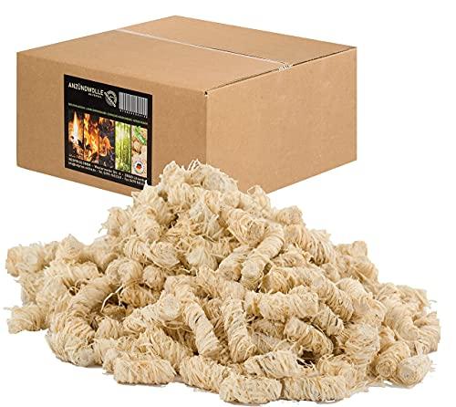 REDPRICE® Anzündwolle (10KG) Premium 100% ÖKO-Kaminanzünder Grill-Smoker-Ofen Anzünder Holz-Wolle mit Natur-Wachs Kamin-Ofen umweltfreundlich fire-starter Holzanzünder Feueranzünder