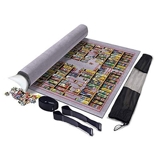 XYMLGS Flexible Rollen Mat Puzzle Isomatte Faltbare Jigroll Puzzle Lagerung Filzmatte 1000 1500 Stück, großes 100 * 68cm Dicke Decke Schutzpolster Grau, beweglicher aufblasbarer Kern Geschenk