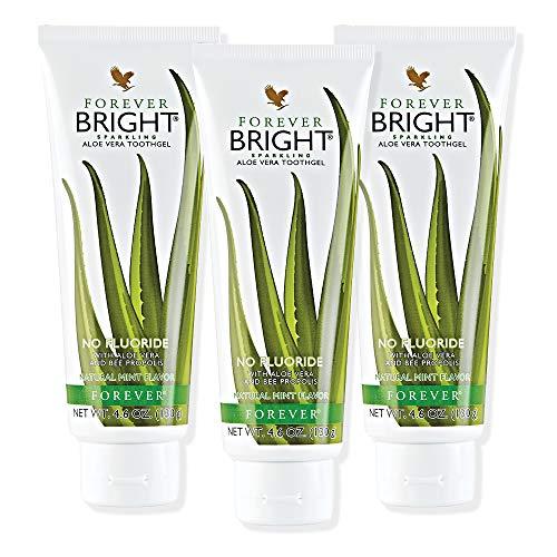 3 Tuben Forever Bright® Zahnpasta im Set mit zusätzlichem Squeezer und Zertifikat