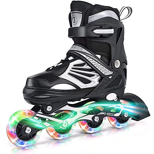 XINAYUEJP Verstellbar Inline Skates Rollschuhe mit LED Leuchtendem, Herren Damen Inliner Inlineskates, PU Rollen, ABEC7 Carbon Kugellager, Unisex Fitness Skates für Erwachsene