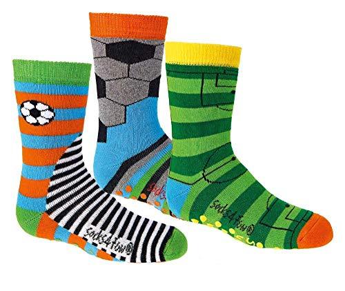 TippTexx 24 6 Paar Ökotex Kinder Stoppersocken, ABS Socken für Mädchen und Jungen, Strümpfe mit Noppensohle, viele schöne Muster (Gute Laune Fußball, 27-30)