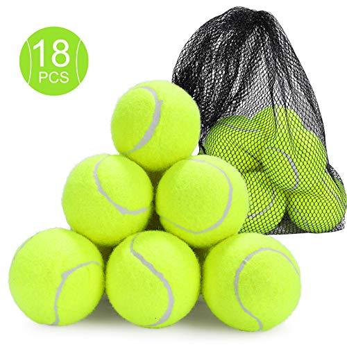 Fostoy Tennisbälle, 18 Stück Langlebige Tennis Übungsbälle Hundespielzeugbälle mit Mesh Tragetasche für Kinder Erwachsene Übungs Haustiere Training