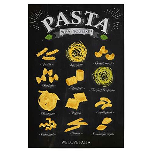 artboxONE Poster 30x20 cm Essen & Trinken We Love Pasta III - Bild Fusilli Conchiglie Rigate Farfalle