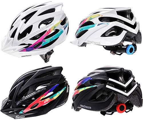 meteor® Fahrradhelm Herren Damen Kinder-Helm MTB rollerhelm mädchen Kinder-fahrradhelm Downhill radhelm Mountainbike Inliner Skater-Helm BMX Scooter Jungen Bike Helmet (M (55-58cm), Shimmer Weiß)