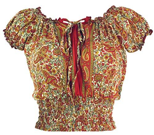 GURU SHOP Blusentop Chic, Hippie Bluse, Damen, Rostorange, Synthetisch, Size:38, Blusen & Tunikas Alternative Bekleidung