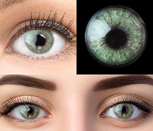GLAMLENS Keira Green Grün + Behälter   Sehr stark deckende natürliche grüne Kontaktlinsen farbig   farbige Monatslinsen aus Silikon Hydrogel   1 Paar (2 Stück)   DIA 14.20   Ohne Stärke