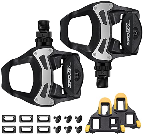 TacoBey Rennradpedale Cleats/Schuhplatten Set For Shimnao SPD Fahrrad-Pedale, Leichte selbstsperrende Fahrradpedale für Shimnao 105 SM-SH Systemschuhe Fitness Peloton Spin Bike