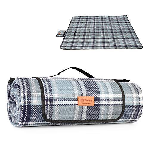 Sekey Picknickdecke wasserdicht, Camping Decke Picknickdecke mit tragbarem Griff, Waschbare Picknickdecke für Outdoor aus DREI Schichten (Acrylgewebe, Perlbaumwolle und PEVA), 200 x 170cm
