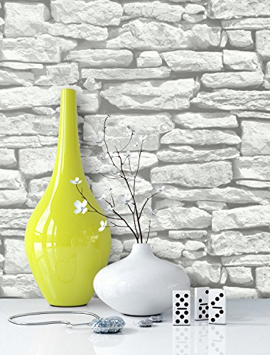 Steintapete in Weiß   schöne edle Tapete im Steinmauer Design   moderne 3D Optik für Wohnzimmer, Schlafzimmer oder Küche inklusive der Newroom-Tapezier-Profi-Broschüre, mit Tipps für perfekte Wände