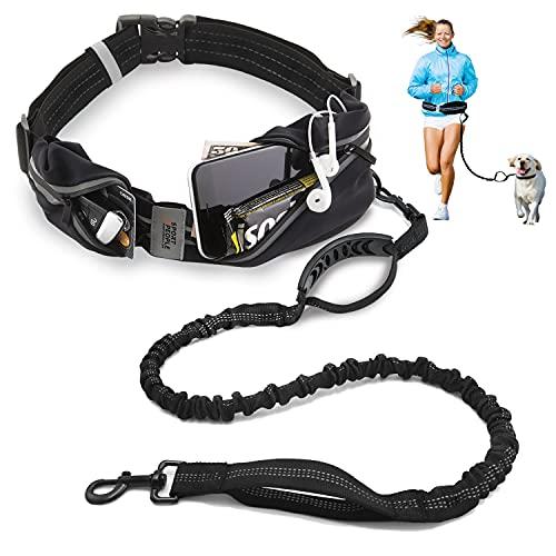 sport2people Gürteltasche mit Joggingleine für Hunde mit verstärkten Stichen und ruckdämpfendem Bungeeleine