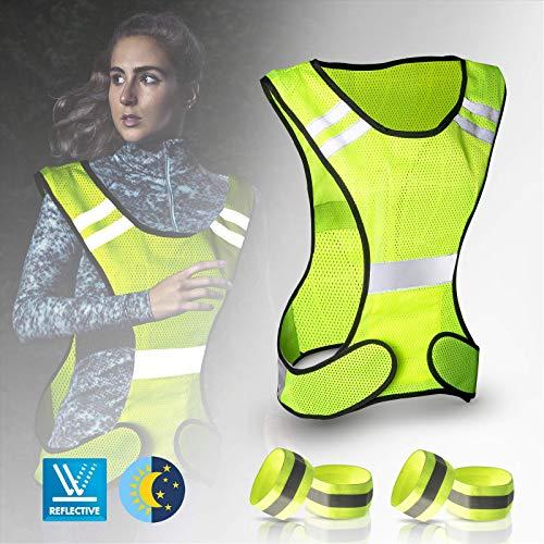 JIPRENS Reflektorweste - Warnweste Fahrrad mit Längenverstellbaren Klettverschluss und 4er Reflektoren Joggen für Outdoor Jogging, Radfahren, Wandern, Motorrad-Reiten oder Laufen (5 Pcs)