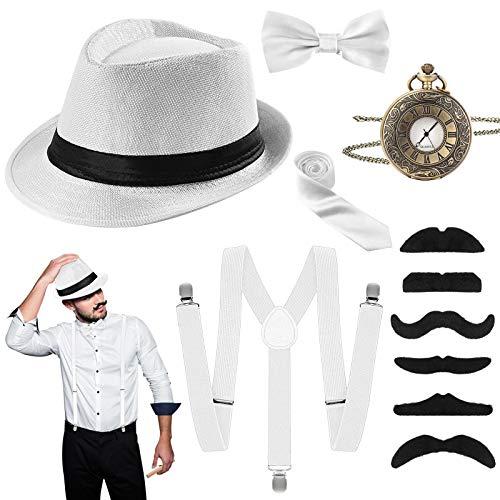 Riclahor 20er Jahre Herren Accessoires - Kostüme Herren Hosenträger Herren Kostüm Set, Hut, Halsschleife Taschenuhr, Schnurrbart, Ideal Kostüme für Partys