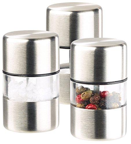 PEARL Salzstreuer: Mini-Salz-/Pfeffermühle, Edelstahl, Keramikmahlwerk, 3er-Set (Kardamom Mühle)
