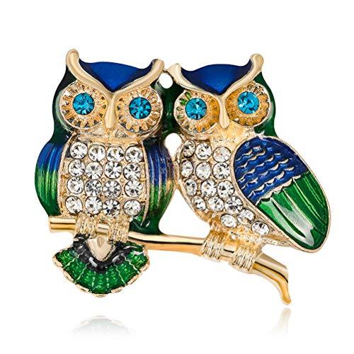 Owls Brooch ZSWQ-Brosche für Damen Mädchen Tierlegierungs-Kristall Breastpin Frauen Doppel Eulerhinestone für Frau Schal Schmuck,Hochzeit Geburtstag Geschenk