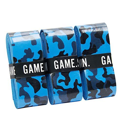GAME.SET.WIN. Camo Grips – Die neuen Camouflage Griffbänder (3er-Pack) in Grün, Blau, Pink | für Tennis, Squash, Badminton | nachhaltige Verpackung | Overgrip Griffband | Geschenk für Tennisspieler |