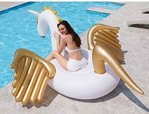 Gcxzb Schwimmreifen Goldene Pegasus-Tierhalterungen Erwachsene übergroße schwebende Entwässerung auf dem schwimmenden Bett Einhorn-Flügel-Badering geeignet für Innen- und Außenpools