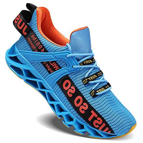 Wonesion Herren Schuhe Laufschuhe Herren Damen Sportschuhe Straßenlaufschuhe Sneaker Joggingschuhe Turnschuhe Walkingschuhe Traillauf Fitness Schuhe, 5-Blau&Orange, 45 EU