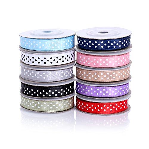BeiLan Satinband mit Punkten 10 Stück(10mm Breit), 5m/Stück, Bänder Satinbänder Geschenkband Geschenkbänder Schleifenband Seidenband Stoffband, 10 Farben