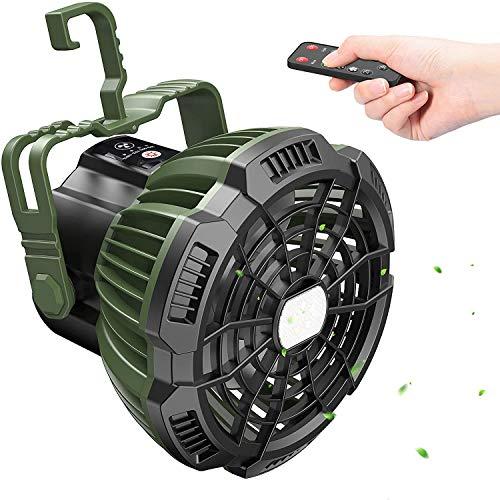 USB Camping Ventilator,Tesoky 7800mAh Wiederaufladbarer Tragbarer Led Laterne Campinglampe mit Fernbedienung, Power Bank, Haken und 180° Rotieren Perfekt für Reise/Picnic/Barbecue/Fishing/Emergency