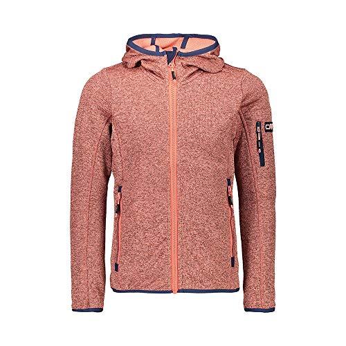 CMP Mädchen Melange Strickfleece Jacke mit Kapuze 30H5905, Flamingo-Light Flamingo, 128